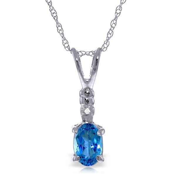 14k WG 0.45ct Oval Blue Topaz & Diamond Necklace