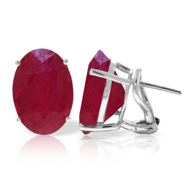 14k White Gold 15.0ct Ruby French Clip Earrings