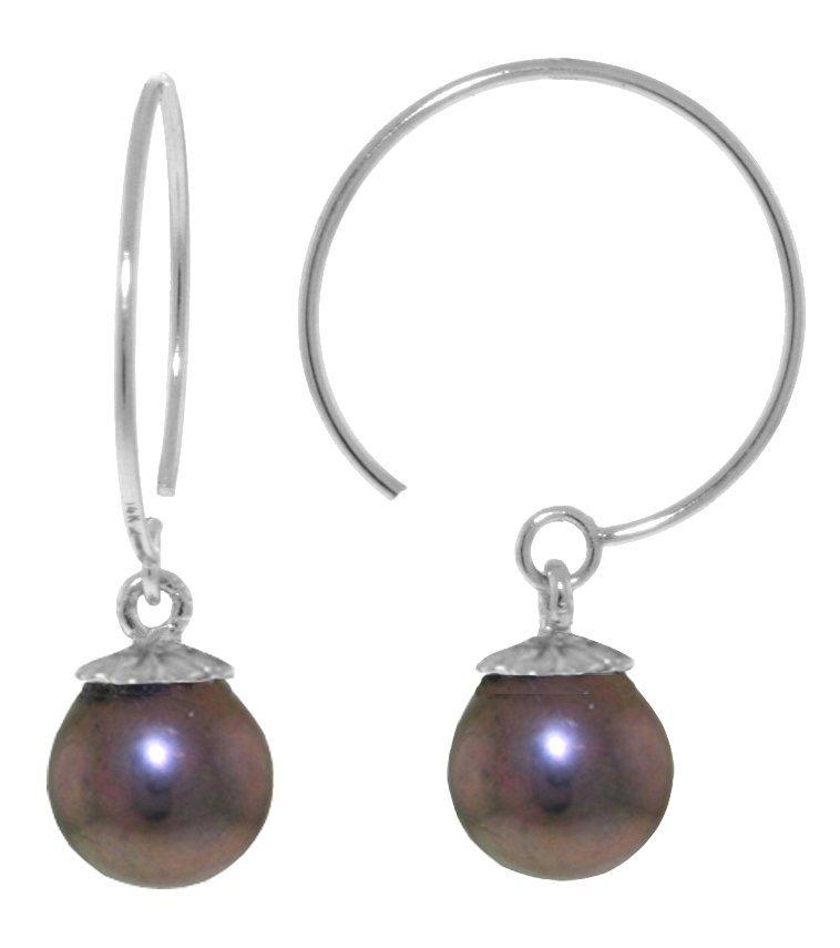 14k WHITE GOLD 4.00ct Open Circle Black Pearl Earrings