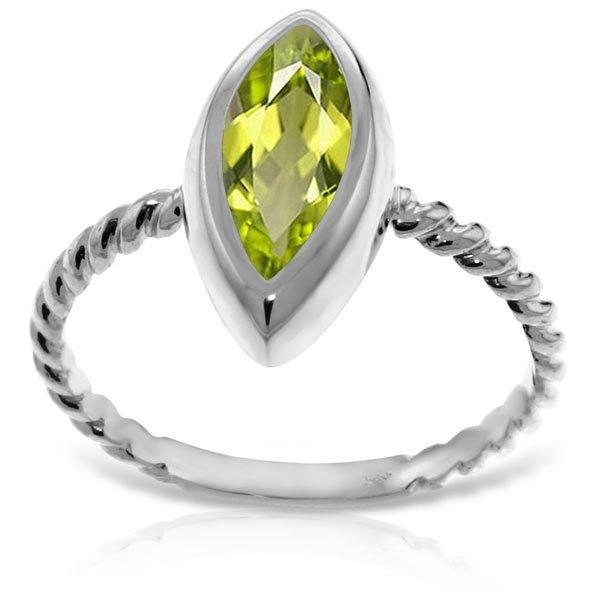 14K White Gold 2.00ct Marquis Peridot Ring