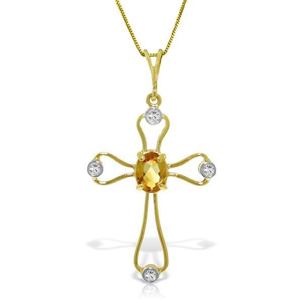 14K YG DIAMONDS & 0.45ct CITRINE CROSS NECKLACE