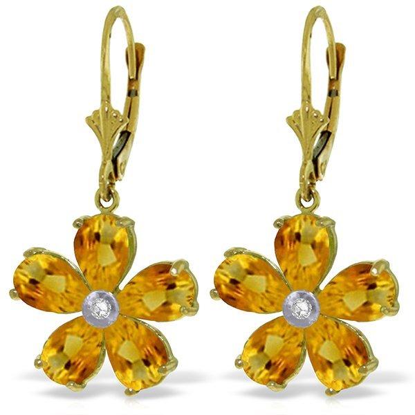 14k Solid Gold 4.40ct Citrine & Diamond Earrings