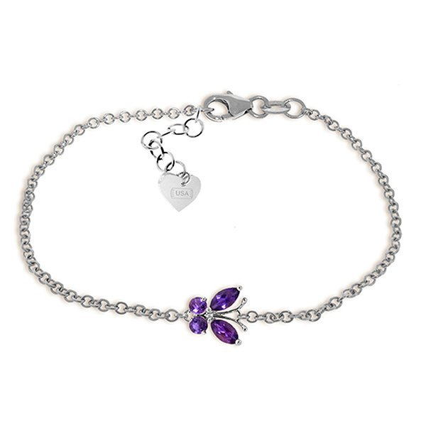 14k White Gold Amethyst Butterfly Bracelet