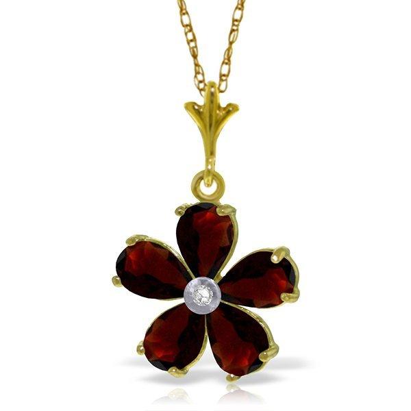 14k YG 2.20ct Garnet & DiamondFlower Necklace