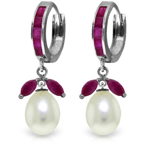 14K White Gold 8.0ct Pearl & 1.3ct 1.0ct Ruby Earring