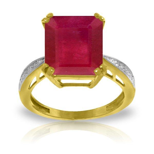 14K YG 0.02ct DIAMONDS &7.25ct OCTAGON RUBY RING