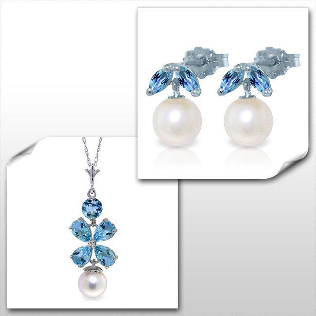 14K White Gold Set of Pearl & Blue Topaz Fine Jewelry