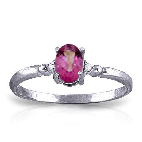 14k Solid Gold 0.45ct Pink Topaz & Diamond Ring