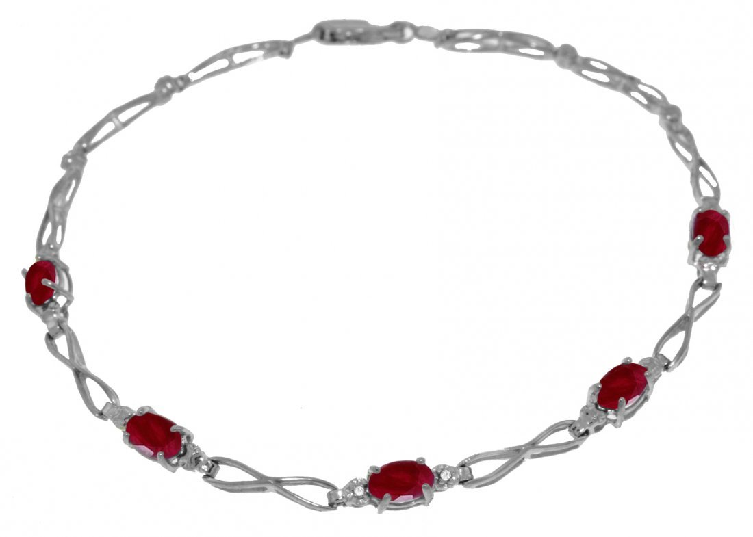 1.15ct Ruby Bracelet with Diamond Accent in 14k Gold