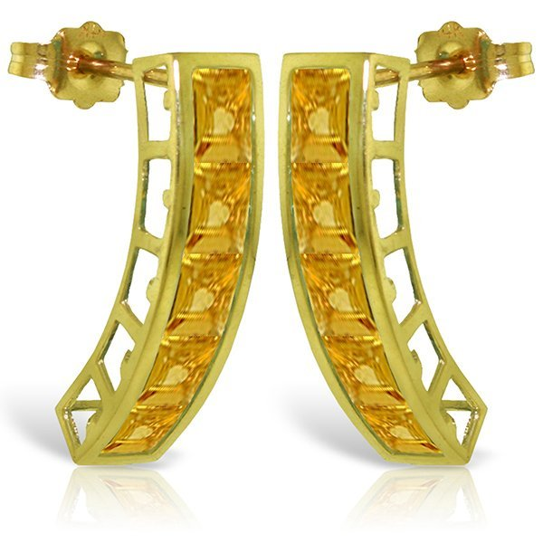 14K Solid Gold 4.50ct Citrine Push Back Earring