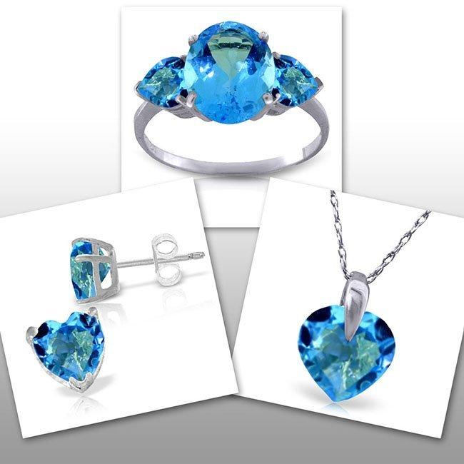 14K White Gold Set of Heart Blue Topaz Fine Jewelry (3)