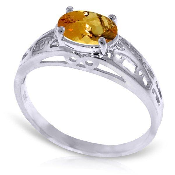 14K White Gold 1.15.ct Oval Citrine Filigree Ring