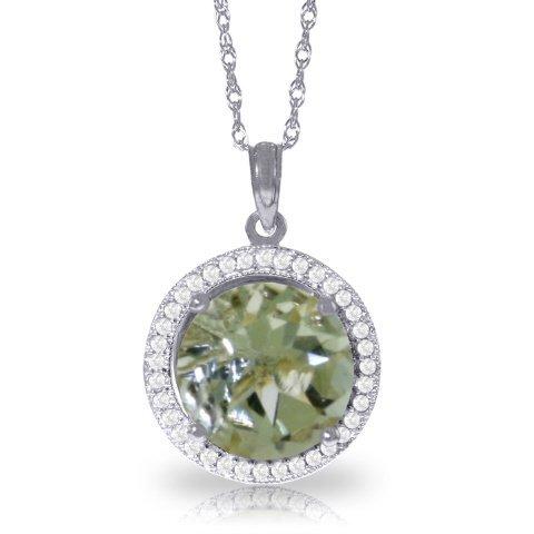 14K White Gold 5.0ct Gr. Amethyst & Diamond Necklace