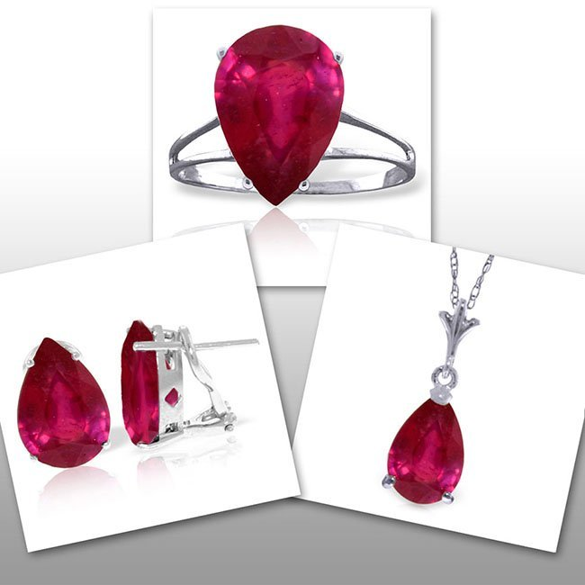 14K White Gold Set of Pear Ruby Fine Jewelry (3)