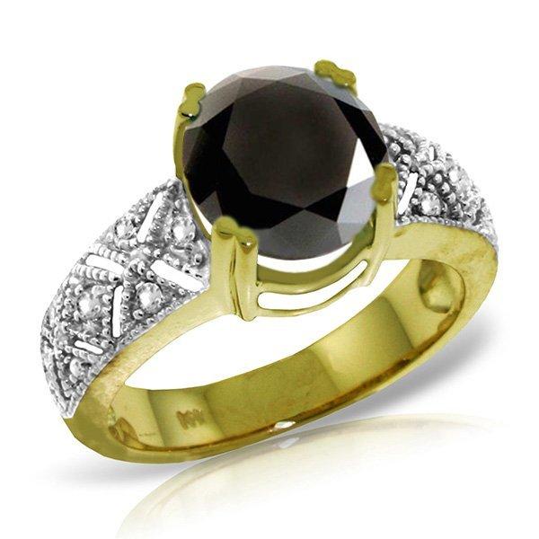 14K Solid  Gold RING w/ WHITE & 3.5ct BLACK DIAMONDS