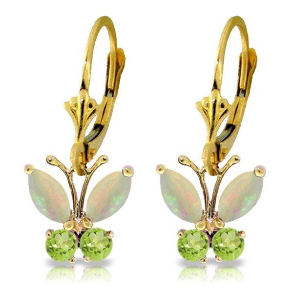 14k YG Opal & Peridot Butterfly Earrings