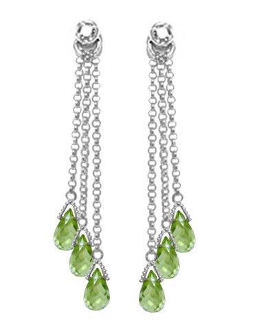 14k WG 10.50ct Peridot & Diamond Chandelier Earrings