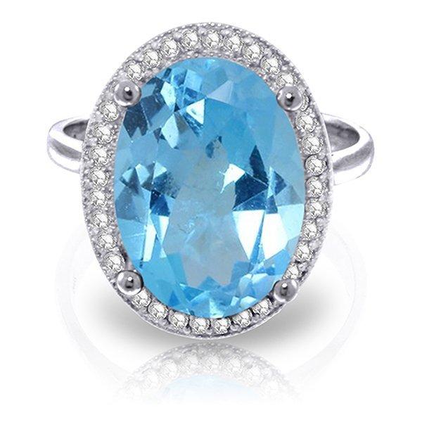 7.58ct 14k White Gold Ultrablue Blue Topaz Diamond Ring