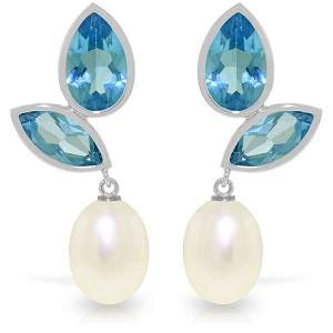 14k White Gold Blue Topaz with Pearl Earrings