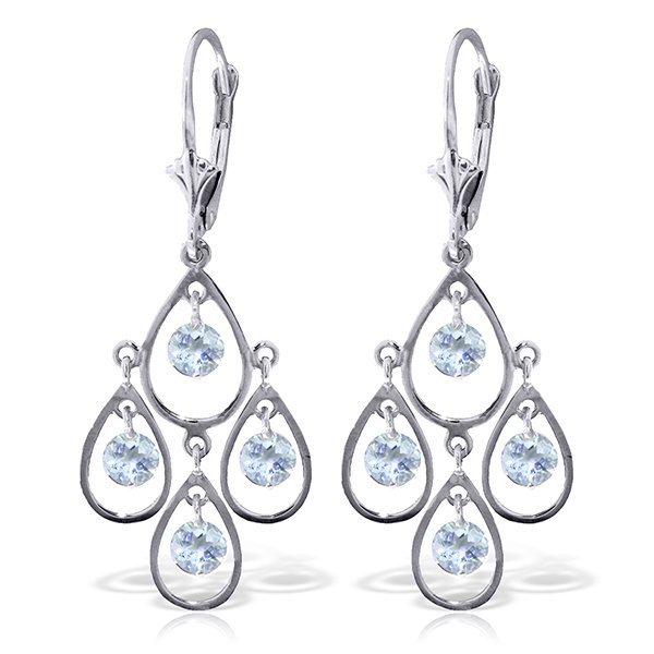 14k WG 2.40ct Aquamarine Chandelier Earrings