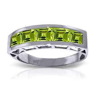 14K White Gold 2.25ct Square Peridot Ring