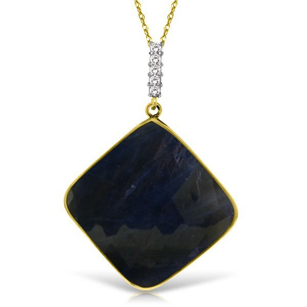 14K Solid Gold 21.75ct Sapphire & Diamond Necklace