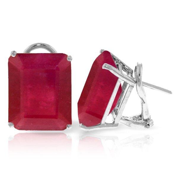 14k WG 13.0ct Ruby French Clip Earrings