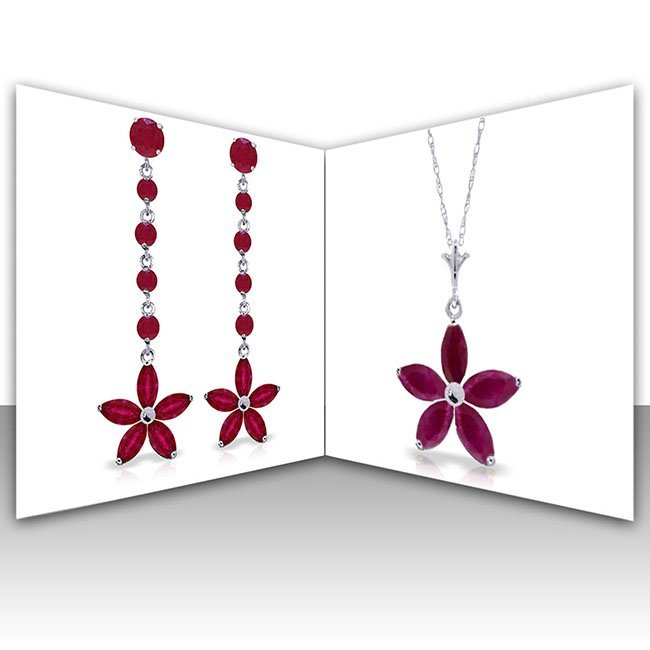 14K White Gold Set of Ruby Flower Fine Jewelry (2)