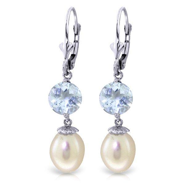 14k WG 3.10ct Aquamarine & Pearl Dangle Earrings