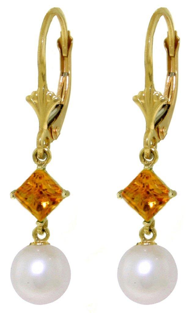 14k YG 1.0ct Citrine & Pearl Dangle Earrings