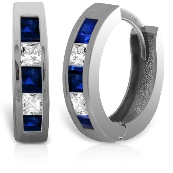 14k Solid Gold Sapphire & White Topaz Earrings