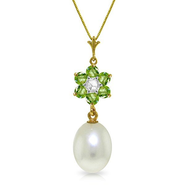 14K Solid Gold 4.0ct Pearl,Peridot & Diamond Necklace