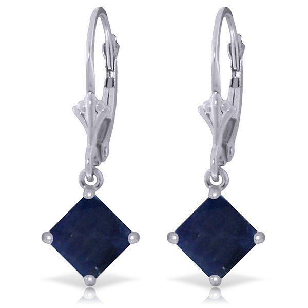 14k White Gold 2.90ct Sapphire Dangle Earrings