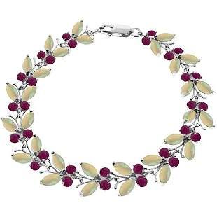 14k Solid Gold Opal & Ruby Butterfly Bracelet