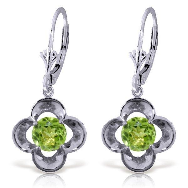 14k WG 1.10ct ROUND shape Peridot Flower Earrings