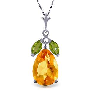 14k WG 6.00ct Citrine and 0.50ct Peridot Necklace