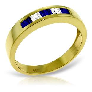 14K Solid Gold .39ct Sapphire & .24ct White Topaz Ring