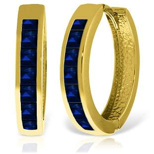 14K Solid Gold 1.85ct Sapphire Huggie Earring