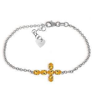 14K White Gold 1.70ct Oval Citrine Cross Bracelet