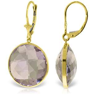 14K Solid Gold 36.0ct ROUND Amethysts EARRING