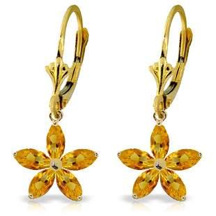14k Solid Gold 2.80ct Citrine Flower Earrings