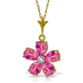 14k Solid Gold 2.20ct Pink Topaz & Diamond Necklace