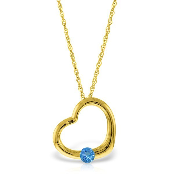 14K Solid Gold .25ct Blue Topaz Heart Necklace