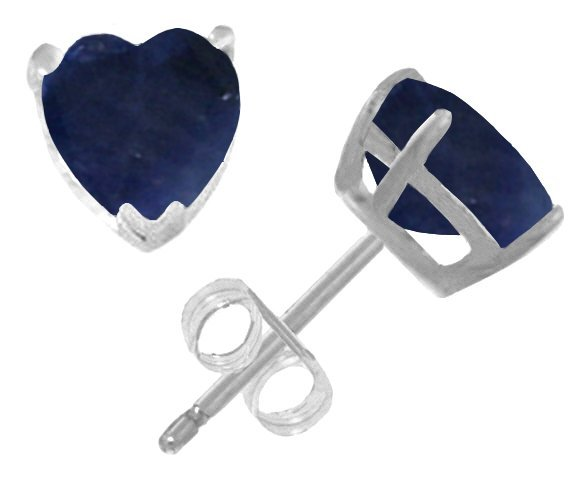 14k White Gold 3.10ct Sapphire Heart Stud Earrings