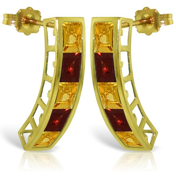 14k Solid Gold Citrine & Garnet Earrings