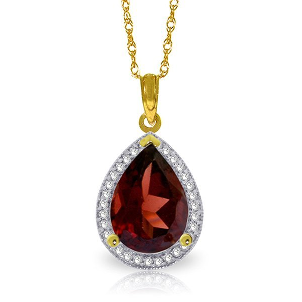 14k Solid Gold 3.90ct Garnet & Diamond Necklace