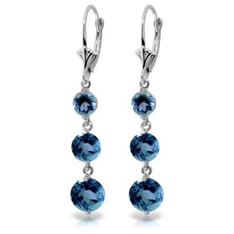 14k WG 3.90ct, 2.10ct & 1.20ct Blue Topaz Earring