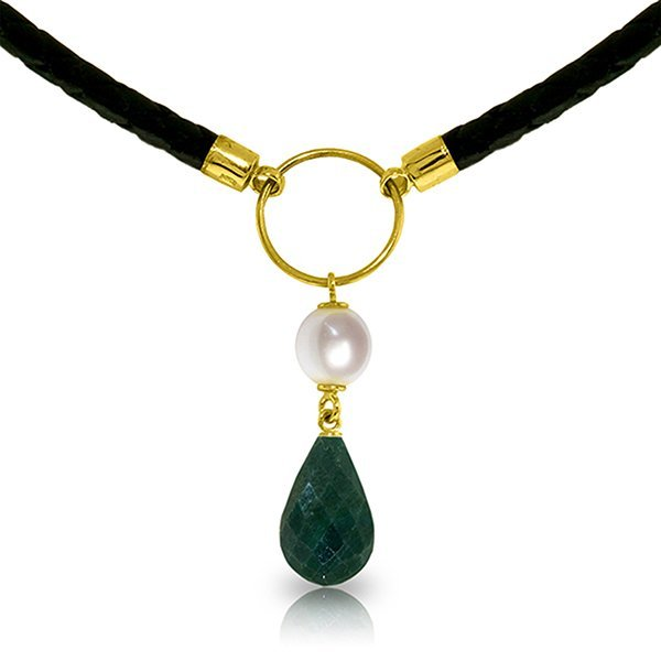 14K Solid Gold 2.0ct Pearl & 8.8ct Emerald Necklace