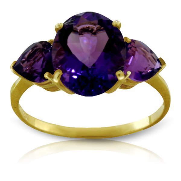 14k Yellow Gold Three stone Amethyst Ring