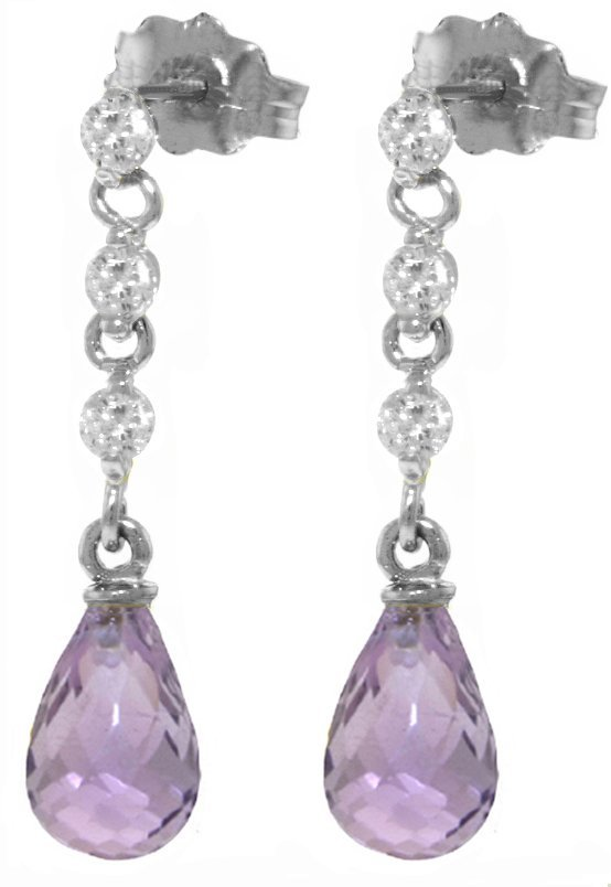 14k 3.0ct Amethyst with Diamond Chandelier Earrings